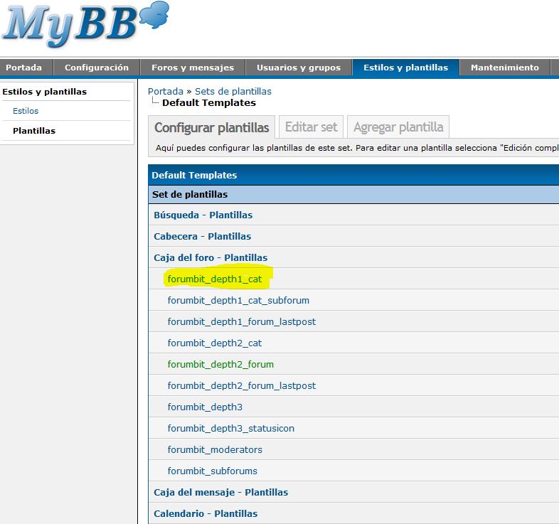 Configuración myBB Admin Panel