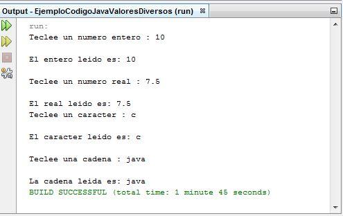 EjemploCodigoJavaValoresDiversos